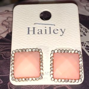 Earrings -NEW- Pierced Pink Stones w Faux Diamonds